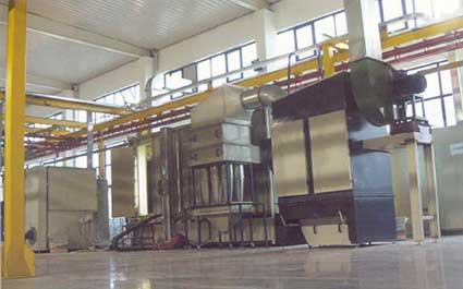 Horizontal Powder Coating Plant Conventional, with power&free or linear conveyor
