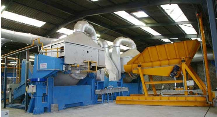 tilting rotary furnace recycling aluminium production of aluminium casting ingots secondary melting remelting aluminium aluminum alüminyum geri kazanım alüminyum külçe imalatı dökümü  AlSi12 Al-Si12